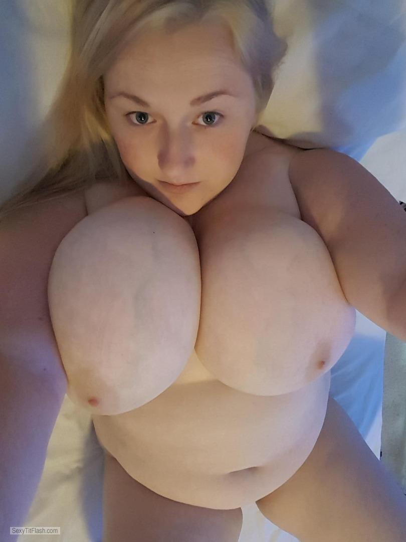 Tit Flash: My Very Big Tits (Selfie) - Topless Hot Zan from United Kingdom